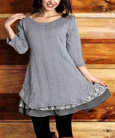 Look at this Gray Cable-Knit Scoop Neck Ruffle-Hem Tunic - Plus on #zulily today!
