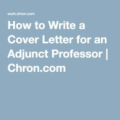 Adjunct Faculty Cover Letter