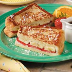 Fruity French Toast awesome with strawberry syrup instead of maple. Nice breakfast.