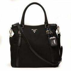239098eb38fe57 Prada Nero Sacca 2 Manici Tessuto + Soft Calf Leather Black Nylon and Leather  Tote Bag authentic Made in Italy Brand: Prada Art: Colour/Color