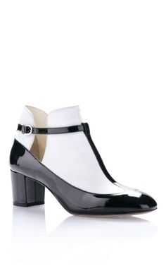 Black Leather And Velvet Low Mary Jane by Valentino for Preorder on Moda Operandi