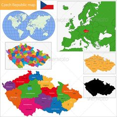 Buy Czech Republic Map by Volina on GraphicRiver. Vector map of the Czech Republic drawn with high detail and accuracy. Czech Republic is divided into regions which ar. Character Illustration, Graphic Design Illustration, Free Printable World Map, Location Icon, Location Map, Czech Republic Flag, World Map With Countries, Flags Europe, Isometric Map