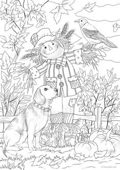 Dog and Scarecrow dibujos blanco y negro Dog and Scarecrow - Printable Adult Coloring Pages from Favoreads Fall Coloring Pages, Dog Coloring Page, Printable Adult Coloring Pages, Animal Coloring Pages, Free Coloring, Coloring Books, Coloring Sheets, Free Halloween Coloring Pages, Fairy Coloring
