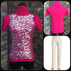 Sparkle sequin sweater. Stay warm and stylish in this pink sequin top. Sweaters