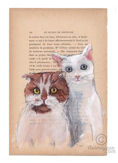 STEPBROTHERS - Peinture,  19x28,5 cm ©2015 par evafialka -                                                                        Art figuratif, Papier, Animaux, Chats, cats, brothers
