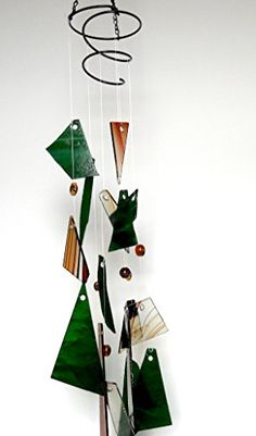 Porch Makeover  Stained glass wind chime in shades of brown and emerald green -- This is an Amazon Associate's Pin. Click the image to view the details on Amazon website.