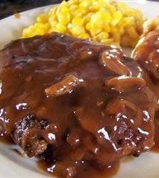 Salisbury Steak - This recipe has been in my family for years. It's easy to cook, but tastes like it took hours to make! I usually make enough extra sauce to pour over mashed potatoes. YUM!
