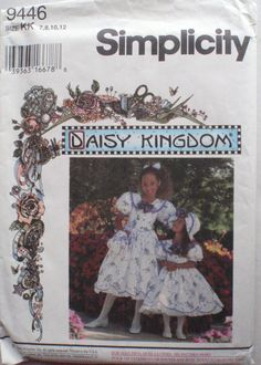 Simplicity 9446 - Girl's Daisy Kingdom Dress, Hat, Purse and Hairbow Sewing Pattern - Sizes 7-8-10-12, Breast 26 - 30 - Uncut by Shelleyville on Etsy