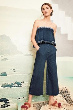 Tiered Denim Jumpsuit. Anthropologie.