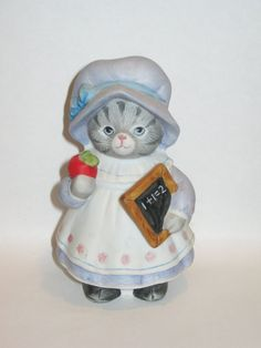 Vintage Schmid Kitty Cucumber Teacher porcelain Cat Kitten Figurine figure Red…