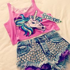 Studded shorts and unicorn shirt:)