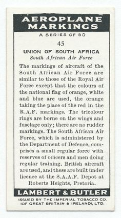 One of hundreds of thousands of free digital items from The New York Public Library. History Of Tobacco, Spanish Air Force, Union Of South Africa, A Small Orange, South African Air Force, Reference Book, Army & Navy, Royal Air Force, National Flag