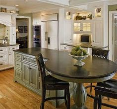 kitchen island with attached table
