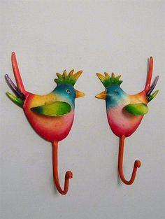 Fugle knagesæt, hånddekoreret metal.
