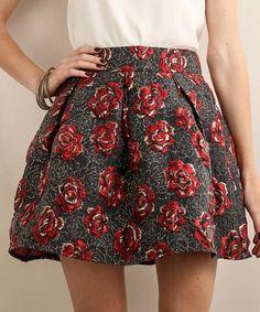 Look at this #zulilyfind! Black & Red Rose Pleated Skirt #zulilyfinds