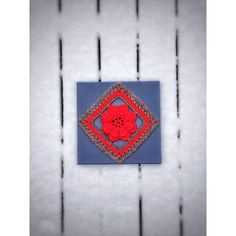 Crochet Wall Art Unique Handmade Red Irish Rose on Blue Canvas... (100 CAD) ❤ liked on Polyvore featuring home, home decor and wall art