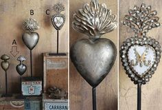 Tin Sacred Hearts On Stands - From Antiquefarmhouse.com - http://www.antiquefarmhouse.com/past/french-decor-accents/tin-sacred-hearts-on-stands.html
