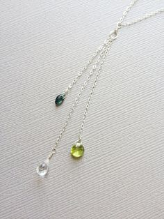Mother's Necklace/His and Hers Birthstone by HouseofWire on Etsy. Love this. One for J, one for A, and one for E