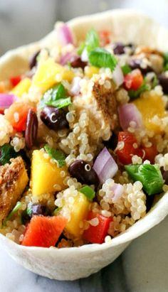 Mango Black Bean Chicken Quinoa Bowls