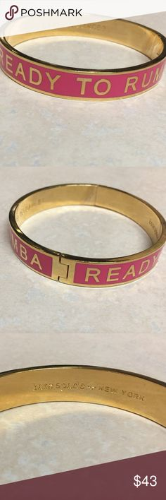 """1/2 FLASH SALE! Kate Spade Ready to Rumba Bangle! Kate Spade Hinge Idiom Bangle, pretty pink with """"Ready to Rumba"""" in block gold lettering. Inside engraving has Kate Spade New York on one side, and """"Care to Dance?"""" on the other! Great condition! Happy shopping! 🦄🦄 kate spade Jewelry Bracelets"""