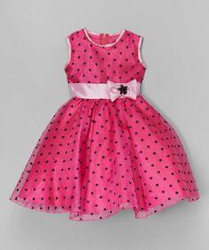 Look what I found on #zulily! Fuchsia & Black Polka Dot A-Line Dress - Toddler & Girls #zulilyfinds