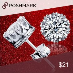Simple Sterling Silver Crown CZ Solitaire Earrings Brand New .925 Sterling Silver Stamped Jewelry Earrings