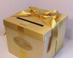 Wedding Card Box Gold and Black Gift Card Box by bwithustudio