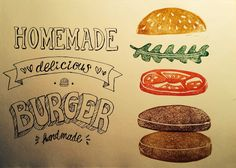 Delicious linocut burger print   Vegan Burger - Linoldruck und Typo Burger Restaurant, Slow Food, Food Trucks, Food Illustrations, Veggies, Homemade, Typo, Hamburger, Magazine