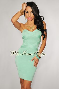Mint Green Strapless Bandage Dress