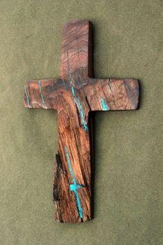 11 high x 7 wide Walnut Cross with Turquoise by BlackFacedSheep, $79.99