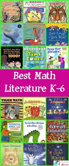 Check out this list of over 100 of the best piece of literature to include in  your math lessons.  Read more about each book and check out some of the lessons and activities you can do with them.