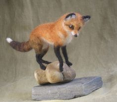 Miniature needle felted red fox by Ainigmati on Etsy