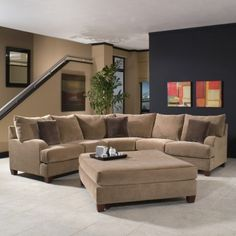 Klaussner Canyon 2pc Sectional Sofa in Nuzzle Latte
