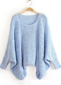 High Quality Loose Pattern Sweaters with Batwing Sleeve - Light Blue