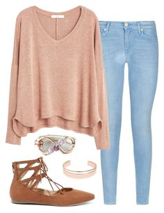 """""""Untitled #729"""" by angelbabyblondi on Polyvore featuring 7 For All Mankind, MANGO, Liliana and Leith"""