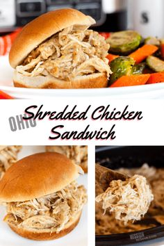 Nostalgic Ohio Shredded Chicken Sandwich Recipe - - This traditional Ohio Shredded Chicken Sandwich Recipe is a classic. Perfect for large gatherings and easy weeknight meal prep thanks to the crockpot! Chicken Taco Recipes, Chicken Sandwich Recipes, Crockpot Recipes, Cooking Recipes, Crockpot Meat, Tofu Recipes, Chicken Tacos, Recipe Chicken, Vegetable Recipes