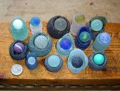 bottle neck tops and marbles #sea_glass