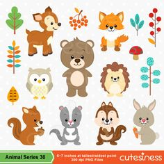 Woodland Clipart Woodland Digital Clipart Woodland Animal