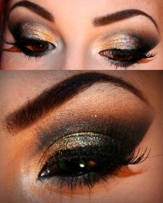 How to get the New Years Look:  1. Do eyebrows and apply base  2. Cut your crease with a black creme makeup  3. Apply black eyeshadow on top of the base and blend it out with the brown eyeshadow  4. Apply gold eyeshadow to the center of the lid  5. Line lashline with gel liner  6. Apply glitter  7. Apply mascara and false lashes and youre ready to go!   Happy New Years <3