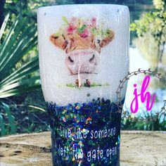 Live like someone left the gate open cow Two Colored/Ombre Custom Tumbler Vinyl Tumblers, Personalized Tumblers, Custom Tumblers, Glitter Cups, Glitter Vinyl, Glitter Tumblers, Funny Throw Pillows, Custom Cups, Tumbler Designs