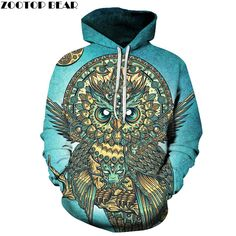 Limited Offer $17.44, Buy Owl Printed 3D Hoodies Men Brand Sweatshirts Hot Funny Pullover Casual Tracksuits Animal Hoodies Boy Hooded Outwear New Coat
