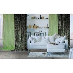 Tenda in tessuto iridescente effetto metallico di colore verde brillante