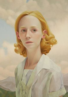 Artist: Lu Cong (b. 1978), oil on panel {figurative art blonde female head woman face portrait cropped painting #loveart} lucong.com