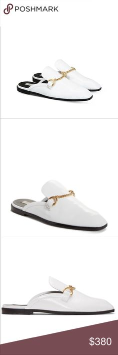 Stella Mccartney chain loafer mules, EU 39 A golden curb chain adds tough, modern attitude to a classic loafer updated in a sleek, slip-on mule silhouette. Synthetic upper, lining. Made in Italy Stella McCartney Shoes Mules & Clogs