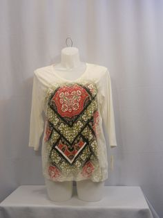 Style & Co Sport Jeweled White Paisley 3/4  Sleeves V-Neck Top Plus Size 1X #Styleco #KnitTop #Career