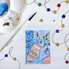 Arts Cards Editions and Originals I decided for today that I will connect my  #Advent ACEO  with a @byjohannafritz #356doodleswithjohannafritz challenge. So here we go December 2 and winter!