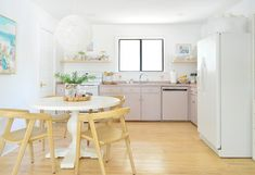 Our Freshly Painted Mauve Kitchen Cabinets (And A Trick For Using Hidden Hinges) | Young House Love New Kitchen Gadgets, Kitchen Post, Old Kitchen, Kitchen Items, Hidden Hinges, Small Kitchen Storage, Kitchen Organization, Young House Love, White Appliances