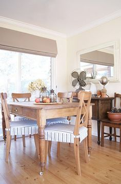 The Painted Hive Dining Room: Love The Roman Shade And The Chair Pads.