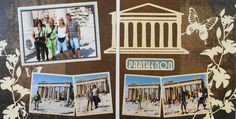 Athens travel scrapbook 2 page layout of the Parthenon at the Acropolis with a title and image from Cricut's Destinations - from Travel Album 10 - Athens, Greece
