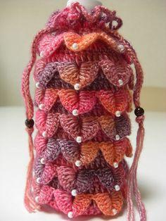 Crochê Tricô - Gráficos: Porta Garrafas em Ponto Escamas
